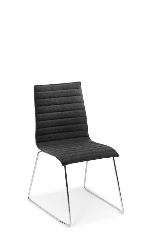 Pledge Bjorn Bistro Chair With Ribbed Style Outline With Sled Base